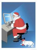 Santa Internet Shopping, no.1 Giclee Print by Linda Braucht