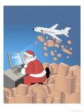 Santa Internet Shopping, no.3 Giclee Print by Linda Braucht