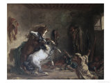 Arabian Horses Fighting in a Stable Giclee Print by Eugene Delacroix