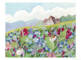 Wildflower Cottage Giclee Print by Linda Braucht