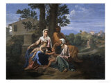 The Holy Family in a Landscape, 17th century Giclee Print by Nicolas Poussin