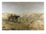 Cowboys in the Badlands, c.1887 Reproduction proc&#233;d&#233; gicl&#233;e par Thomas Cowperthwait Eakins