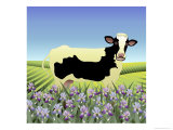 Iris and Buttercup the Cow Giclee Print by Linda Braucht