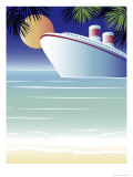 Tropical Cruise Ship Giclee Print by Linda Braucht