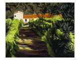 House with a Red Roof Giclee Print by Helen J. Vaughn