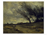 Le Coup de Ventgust of Wind Giclee Print by Jean-Baptiste-Camille Corot