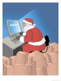Santa Internet Shopping, no.2 Giclee Print by Linda Braucht