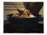 Pears in a Blue Bowl Giclee Print by Helen J. Vaughn
