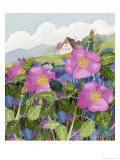 European Cottage and Roses Giclee Print by Linda Braucht