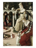 Two Venetian Courtesans Gicle-tryk af Vittore Carpaccio