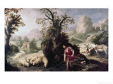 Allegory, Jacob Laying the Peeled Rods Giclee Print by Bartolome Esteban Murillo