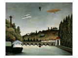 Landscape with Zeppelin, c.1908 Impresso gicle por Henri Rousseau