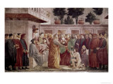 St. Peter Resurrects the Child of Theophilus Giclée-tryk af Masaccio