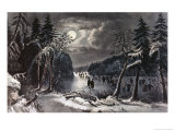 Skating Scene by Moonlight Giclee Print by  Currier & Ives