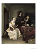 Young Woman Playing the Theorbo to Two Men Giclee Print by Gerard ter Borch