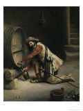 Getting the Wine Giclee Print by Joseph-noel Sylvestre