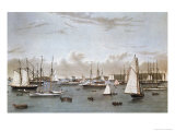 The Yacht Squadron Giclee Print by  Currier & Ives