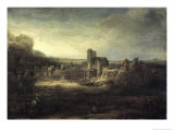 Landscape with a Church Giclee Print by  Rembrandt van Rijn