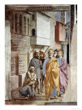 Saint Peter Following Saint John as He Heals The Sick with His Shadow Giclée-tryk af Masaccio