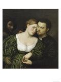 The Venetian Lovers Giclée-tryk af Paris Bordone