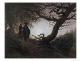 Man and Woman Contemplating the Moon Gicléedruk van Caspar David Friedrich