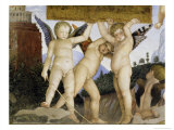 Detail of Camera Degli Sposi: Putti Holding Tablet Giclee Print by Andrea Mantegna