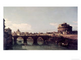 View of the Tiber with the Castel Sant'Angelo Giclee Print by Bernardo Bellotto