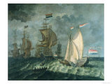 Tall Ships with Full Sail Giclee Print
