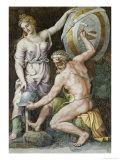 Vulcan Forging Armour For Achilles Giclée-tryk af Giulio Romano