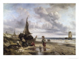 Children Playing by the Ocean Giclee Print by Jan Mari Henri Ten Kate