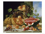 Still Life with Peaches, Watermelon and Grapes Giclee Print by John F. Francis