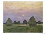Bundles of Hay at Twilight Giclee Print by Isaak Ilyich Levitan
