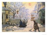 Frosty Day Giclee Print by B. M. Kustodiev