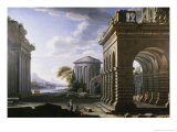 Architectural Study of Columns and Arches Reproduction procédé giclée par Giovanni Paolo Pannini