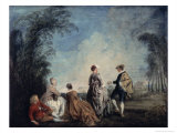 Embarrassing Proposition Giclee Print by Jean Antoine Watteau