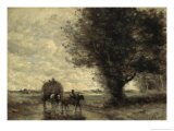 The Haycart Giclee Print by Jean-Baptiste-Camille Corot