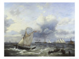 Sailing Vessels and a Steamship Offshore in a Squall Giclee Print by Louis Verboeckhoven