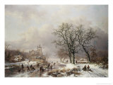 Figures on a Frozen Waterway, no.2 Giclee Print by Frederik Marianus Kruseman