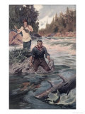 Couple Fishing Giclee Print by Oliver Kem
