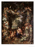 Holy Family with Wreath of Fruit and Flowers Giclee Print by Jan Brueghel the Elder