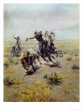 Cowboy Roping a Steer Giclee Print by Celia Russell