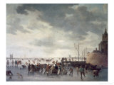 Scene on the Ice Near Dordecht Giclee Print by Jan Josephsz. Van Goyen