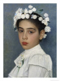 Girl with Flowers in Her Hair Impresso gicle por Isidor Kaufmann