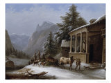 Winter in the Bavarian Alps Giclee Print by Jakob Gauermann