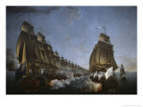 Combat Between the French and English Fleets as Viewed from Goudelour Giclee Print by Auguste Rossel De Cercy
