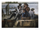 Dockmen on the Delaware Giclee Print by William E. Winner