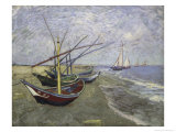 Fishing Boats on the Beachat Saintes, Maries Giclee Print by Vincent van Gogh