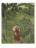 Woman with an Umbrella in an Exotic Forest Giclee Print by Henri Rousseau