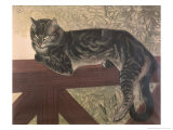 Cat on Balustrade Giclee Print by Th&#233;ophile Alexandre Steinlen