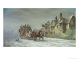 Salisbury in Winter: Coach Arrives at the Star Inn Giclee Print by John Charles Maggs